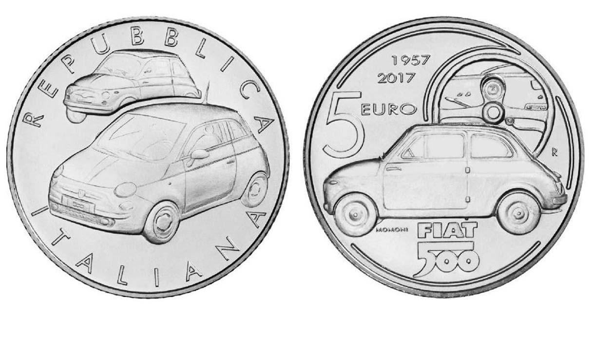 Una moneta da 5 euro in occasione dei 60 anni di Fiat 500